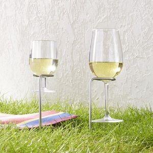 NWT Crate&barrel (2) Steady Wine Glass Holders